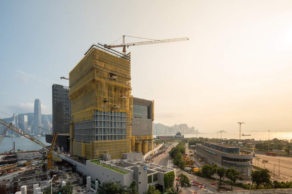 Sealing up floor opening after M&E services installation for the Construction of Museum Plus (M+) of the West Kowloon Cultural District